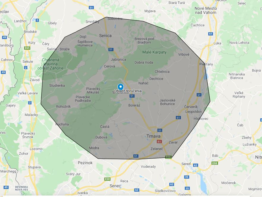 Mapa oblasti doručovania